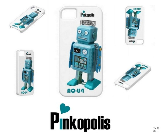 Pinkopolis Retro Robot AQ-U4 - Buy him starring on an I Phone 5 case here: http://www.zazzle.com/retro_robot_aq_u4_iphone_5_is_alive_case-179444266003232457