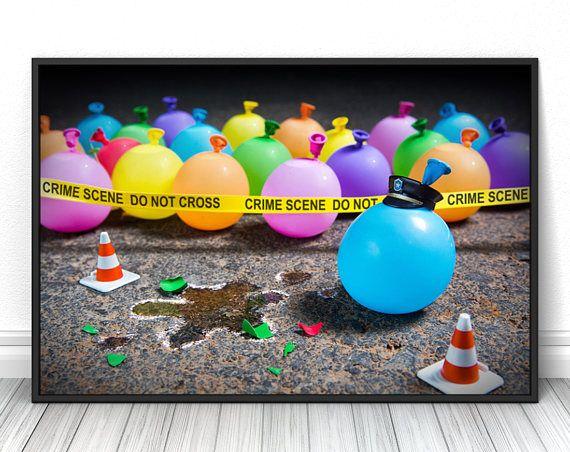 Balloon crime scene, Creative modern art print, Unique photography poster, High quality living room photo, dorm and bedroom decor, Fine art  #balloon #police #crime #print #poster #fineart #art #creative #unique #fineartphotography #fineartprint #wallart #livingroomdecor #walldecor #bedroomdecor