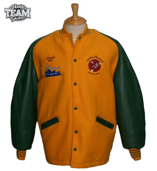 Campbelltown City Alley-Gators bowling team custom wool and leather embroidered varsity surcoat jacket front by Team Varsity Jackets. www.facebook.com/TeamVarsityJackets www.teamjackets.net