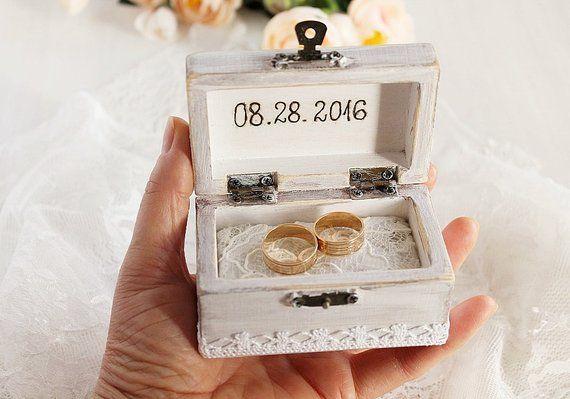 Beach Wedding Ring Box Custom Ring Box Rustic Ring Bearer Ring Box Personalized Box Beach Ring Box White Ring Box Beach Ring Bearer