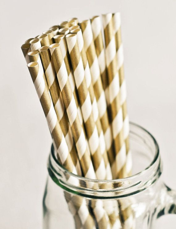 Paper Straws in Metallic Gold & White Striped - Set of 25 - Sparkle Shimmer Pretty Wedding Winter Birthday Party Shower Accessories Decor