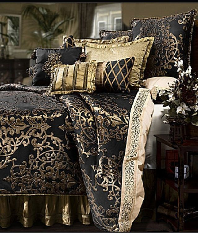 Image result for black gold brocade curtain bed