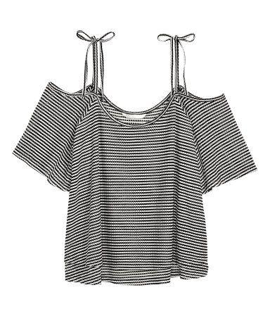 Off-Shoulder-Top | Schwarz/Weiß gestreift | Damen | H&M DE
