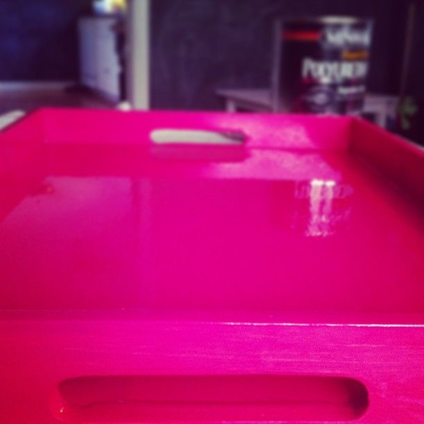 """Minwax """"High-Build"""" Oil-Based GLOSSY Polyurethane and Plaid Strawberry Craft Paint, made the FABULOUS lacquer look tray!!!!!!! the HUNTED INTERIOR: Lacquer Tray How To"""