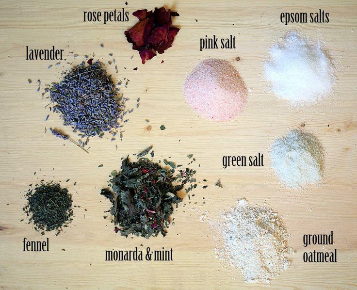 Bath Tub Tea Ingredients - make a herbal bath soak in minutes. #gardentherapy #bath