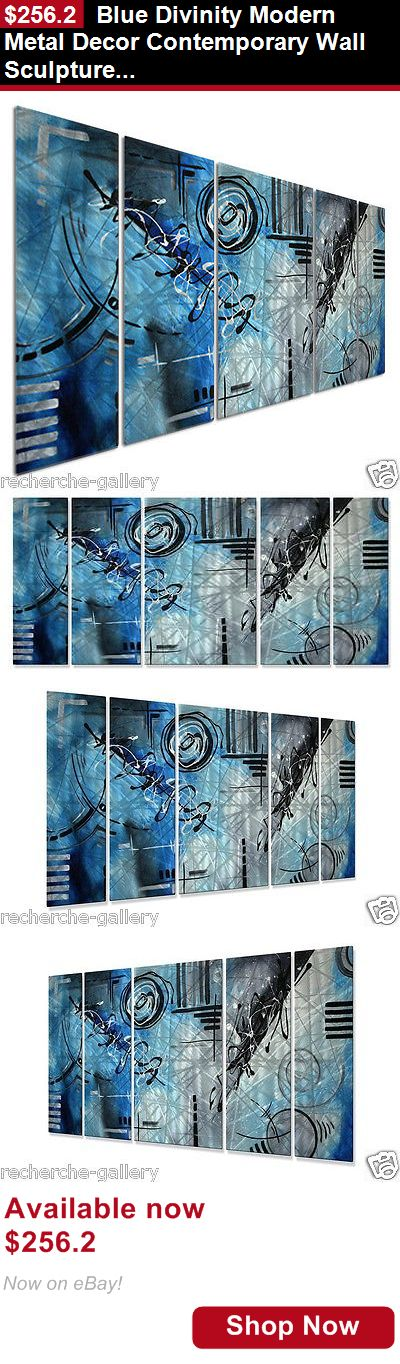 Sculpture art: Blue Divinity Modern Metal Decor Contemporary Wall Sculpture By Megan Duncanson BUY IT NOW ONLY: $256.2