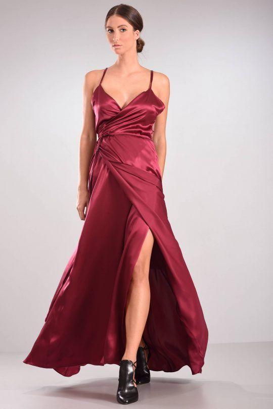 C-THROU Exclusive Pre-Fall 2016-17 -Wrap-Effect Silk Satin Maxi Gown   Sleep Dress
