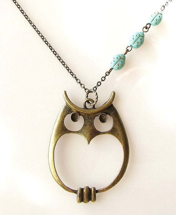 owl necklace, long necklace, woodland jewelry owl jewelry necklace, aqua green ladybug jewelry. $28.00, via Etsy.
