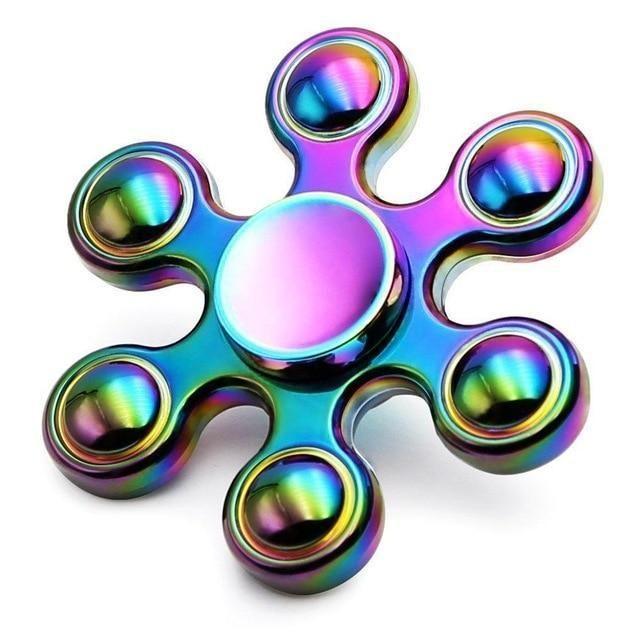 Colourful Hand Finger Gyro Fidget Spinner Toys Focus EDC For adults Rose gold