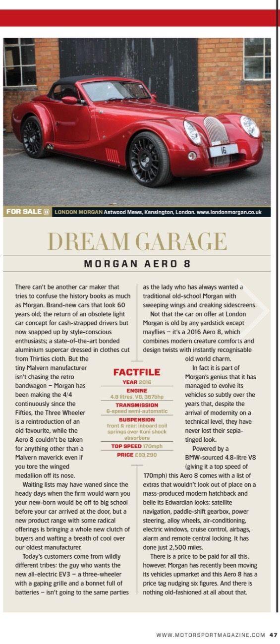 2016 Morgan Aero V8 in Motorsport Magazine of U.K