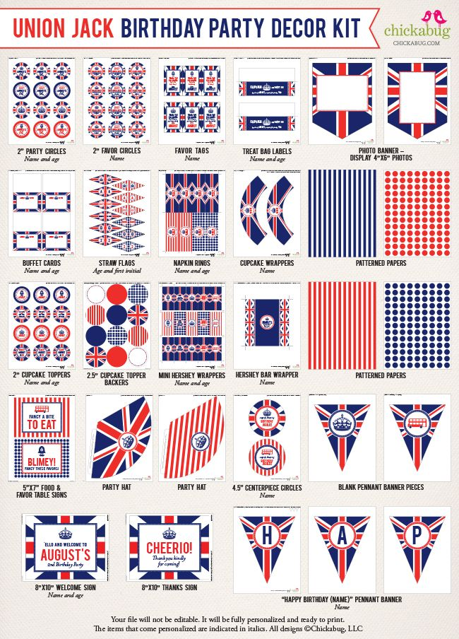 Union Jack birthday party printable decor kit - Over 45 pages of fun printables from Chickabug!