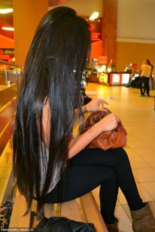 Shiny long black hair!.... yeah it's beautiful but from experience let me tell you. LOTS OF MAINTENANCE AND WORK! lol but I still love it :)