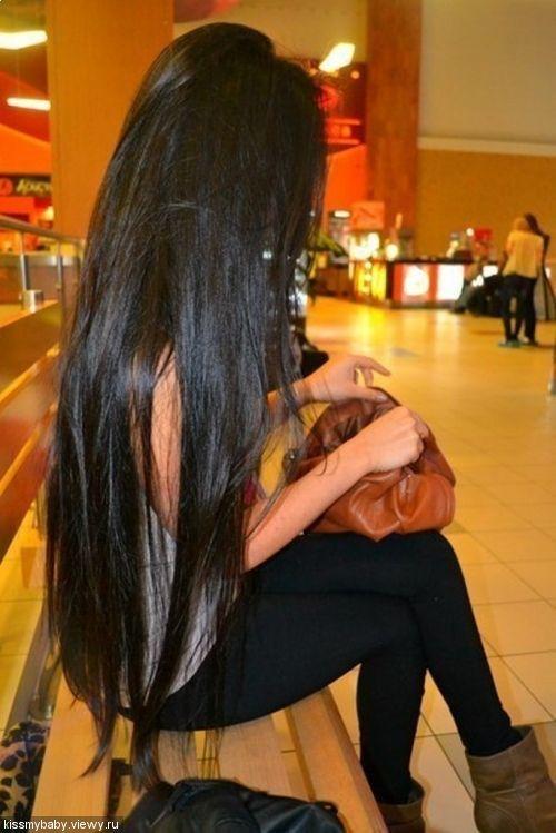 Longo cabelo preto brilhante!