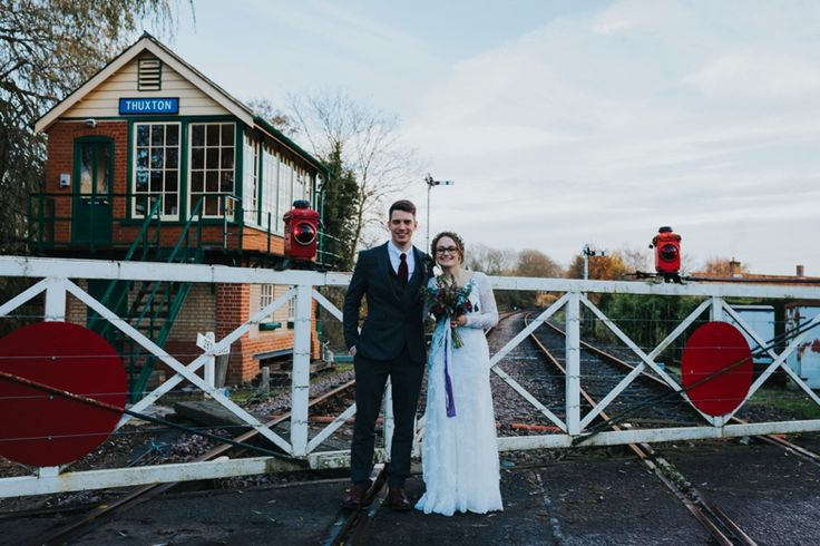 When your venue is close to an old school train station - love interesting place to shoot couple photos. Photo by Benjamin Stuart Photography #weddingphotography #brideandgroom #couplephoto #thuxton #trainstation #traintracks #justmarried #newlyweds