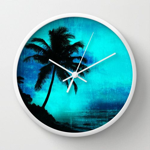 Tropical scene clock, tropical wall clock, island theme clock, palm tree clock, island home decor, blue wall clock, tropical wall art - pinned by pin4etsy.com