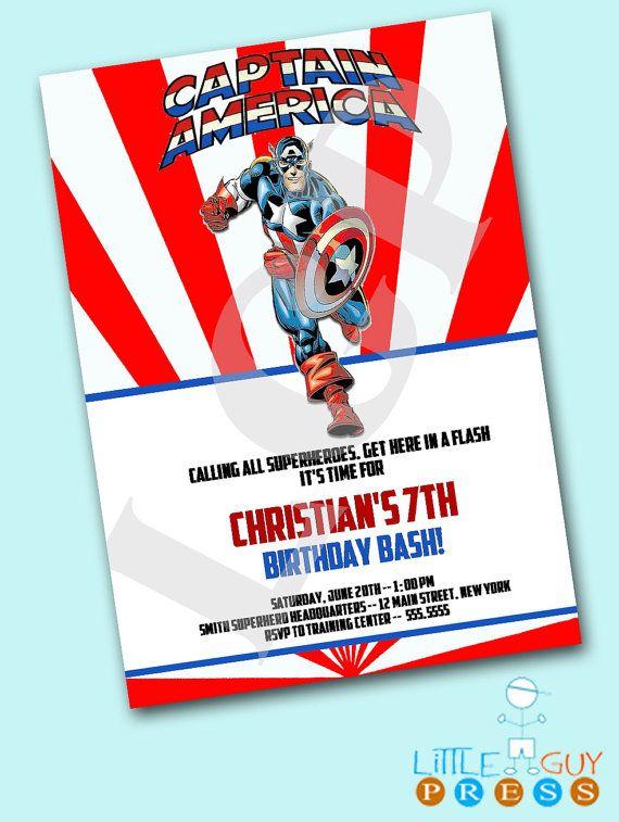 Birthday Party Captain America Superhero by littleguypress on Etsy, $12.00