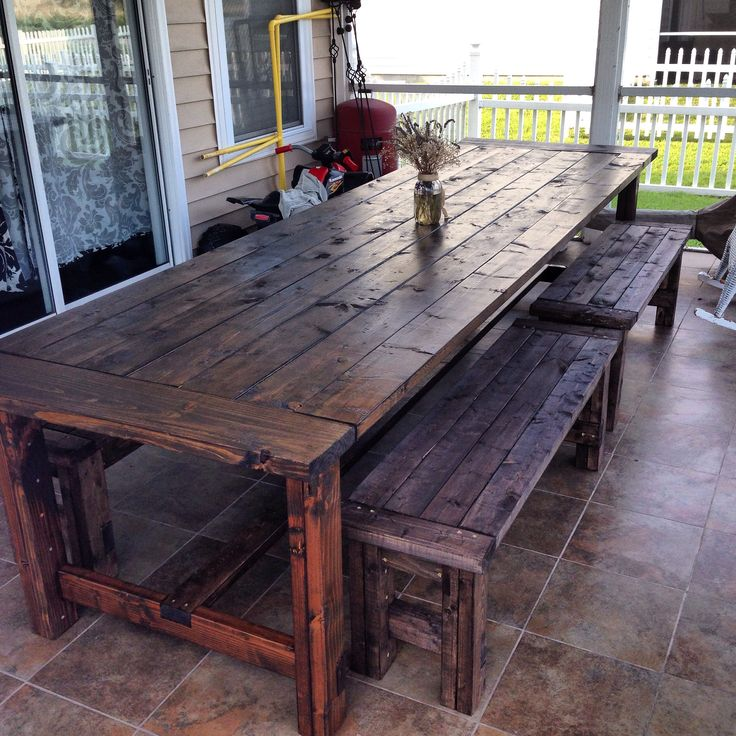 Rustic Outdoor Table: Outdoor Table With Benches. Over 11ft. Long.