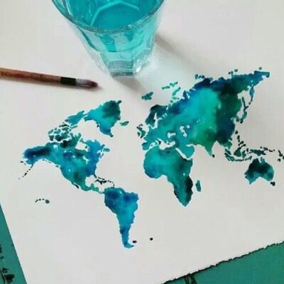 Watercolor of a Map of the World art
