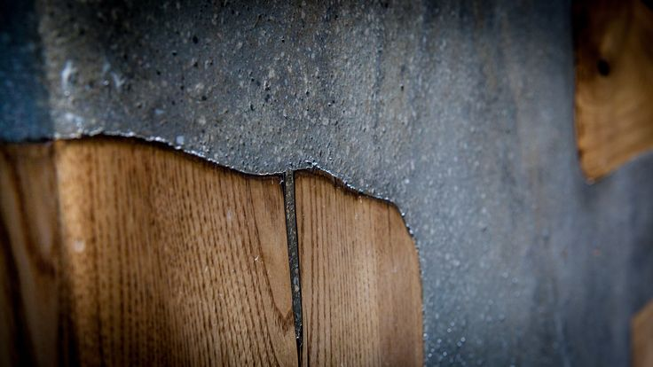 #concrete #table #custom #design #detail #large #scale #chestnut #wood made by www.greymatters.gr