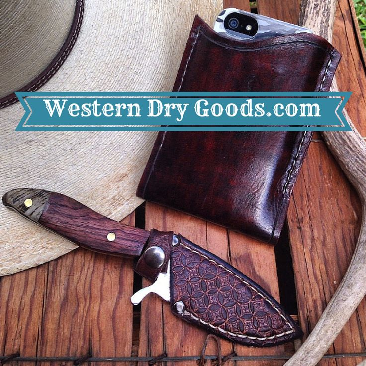 Leather iPhone Case and Leather Knife Sheath on sale at www.WesternDryGoods.com.