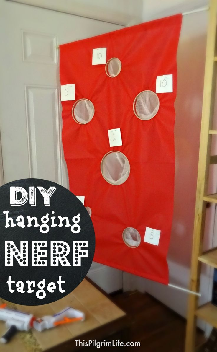 Make a simple hanging nerf target with just a few inexpensive materials-- no sewing required!
