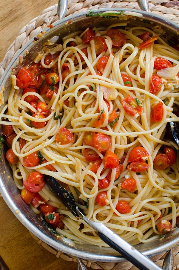A simple vegetarian recipe for pasta with cherry tomatoes and garlic with a quick homemade chili-garlic oil with lemon zest. It's a Sunday night as I sit here to write this post. I'm feeling sleepy and grateful. I just ate a huge bowl of this simple and impossibly delicious pasta with cherry tomatoes and garlic. The [...]