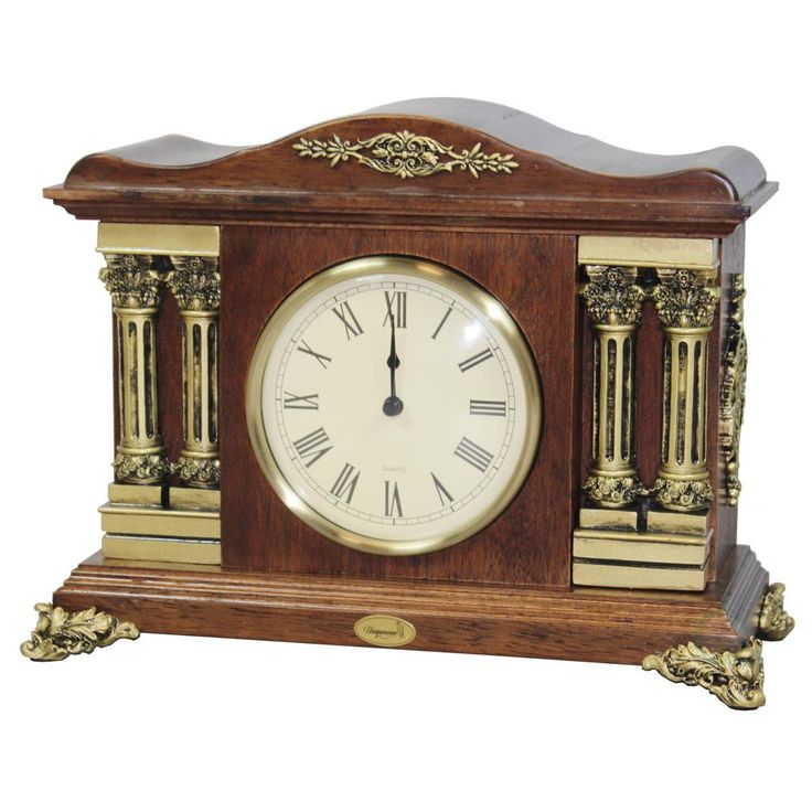13 in. W x 6 in. D x 10.1 in. H Wooden Traditional Desktop Clock with Brown Wood Case