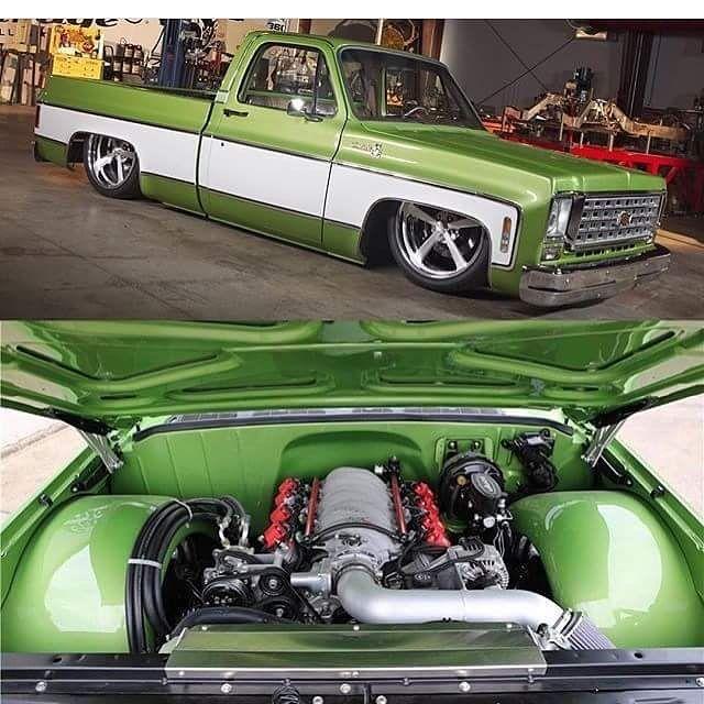 "lowfastfamous: "" Hot Wheels - The @gasmonkeygarage built Chevrolet C10 looking a million bucks, squarebody all day! @accuair @introwheels #chevrolet #gmc #c10 #hotrod #streetrod #streetmachine #streettruck #layframe #airsuspension #bagged #raked..."