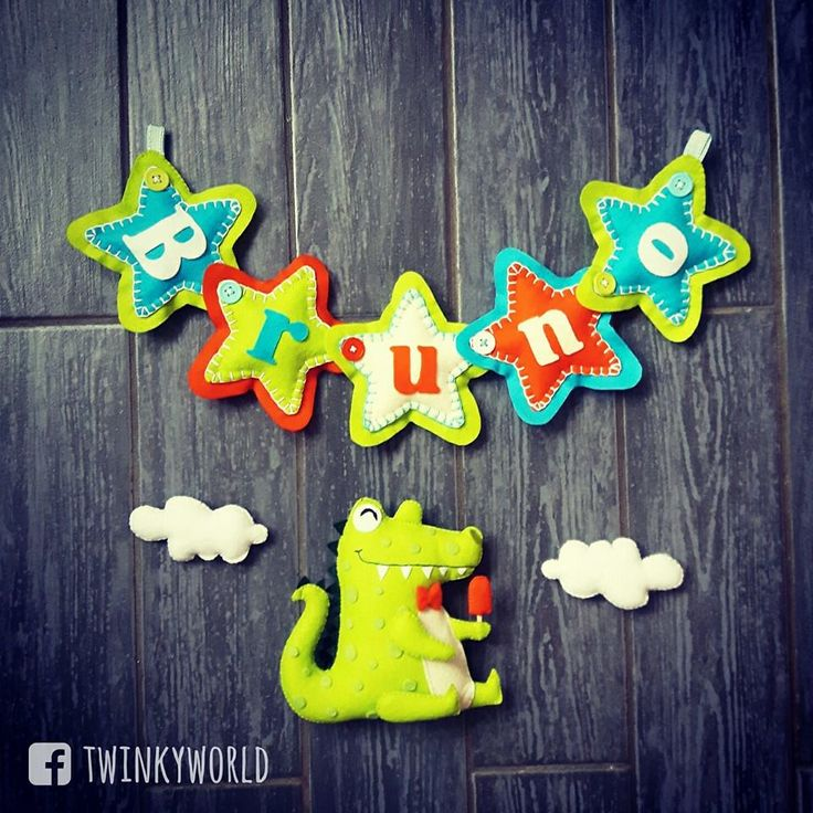 Felt garland - baby name - Bruno with crocodile - Name banner