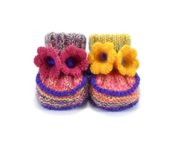 Knitted Baby Booties with Crochet Bell Flowers  by SasasHandcrafts, $18.00