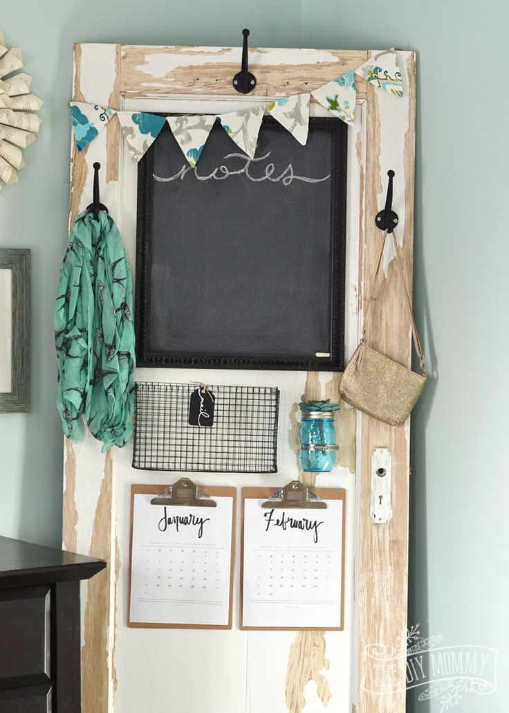 How to make a message centre from a chippy old door - DIY chalkboard from an old frame, DIY wire mesh basket - cute & useful!