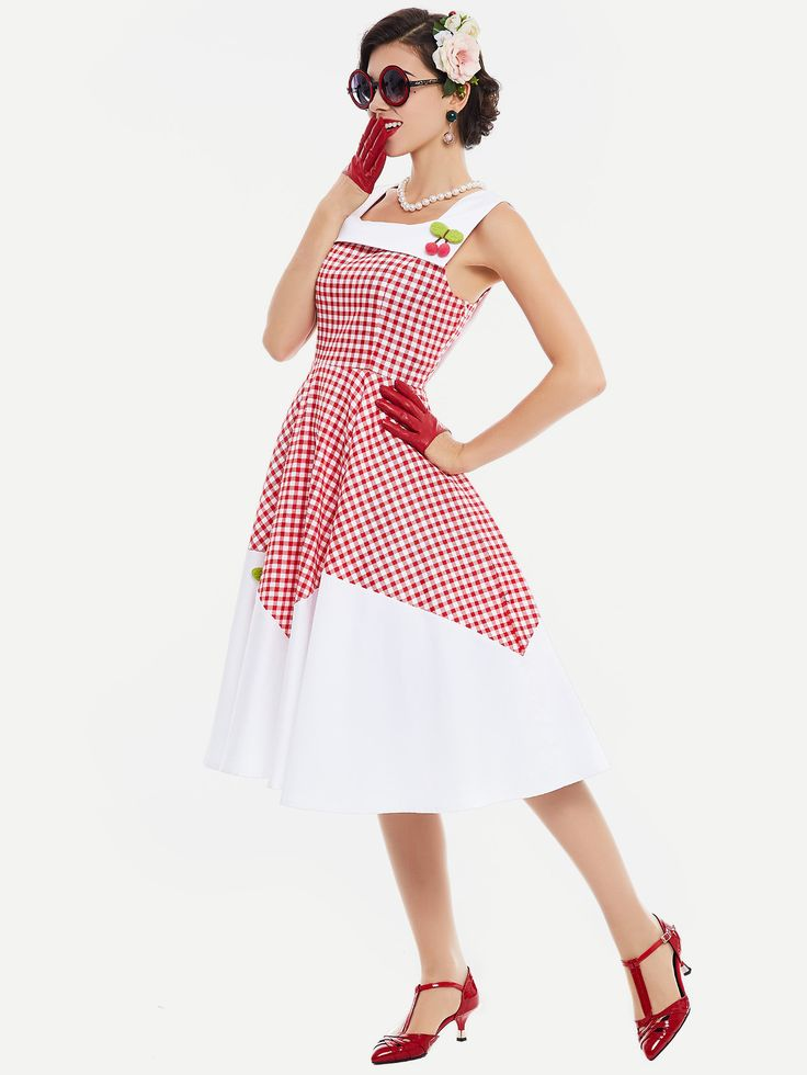 Shop Contrast Checkered Cherry Detail Flare Dress online. SheIn offers Contrast Checkered Cherry Detail Flare Dress & more to fit your fashionable needs.