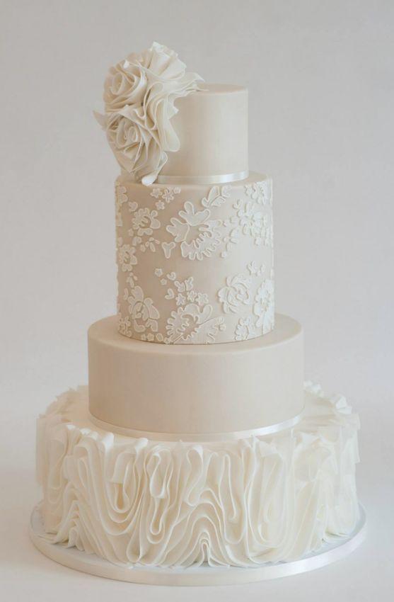 Empfohlener Kuchen: Herzsüße Kuchen; Chic weiße Spitze und Rüschen Textur Hochzeitstorte …   – My Wedding