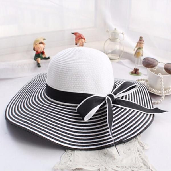 a4c57ef4478 Beautiful Black and White Striped Bow-knot Straw Beach Sun Hat! hats    gloves
