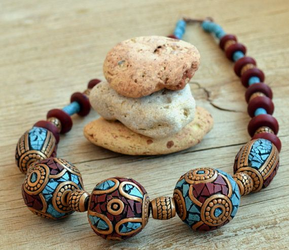 Tibetan beaded necklace Polymer clay by HandmadeByAleksanta