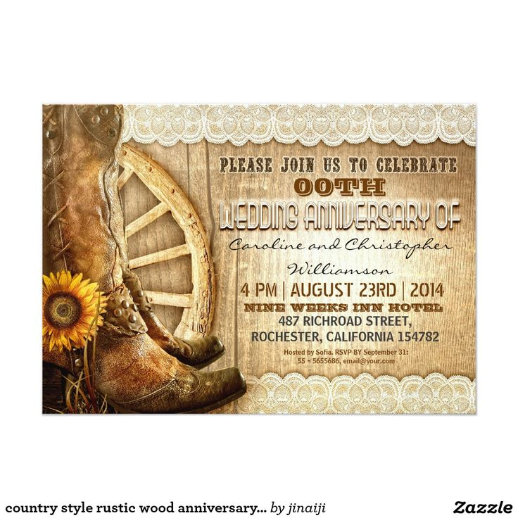 7 best Rustic Wedding Anniversary Invitations images on Pinterest ...