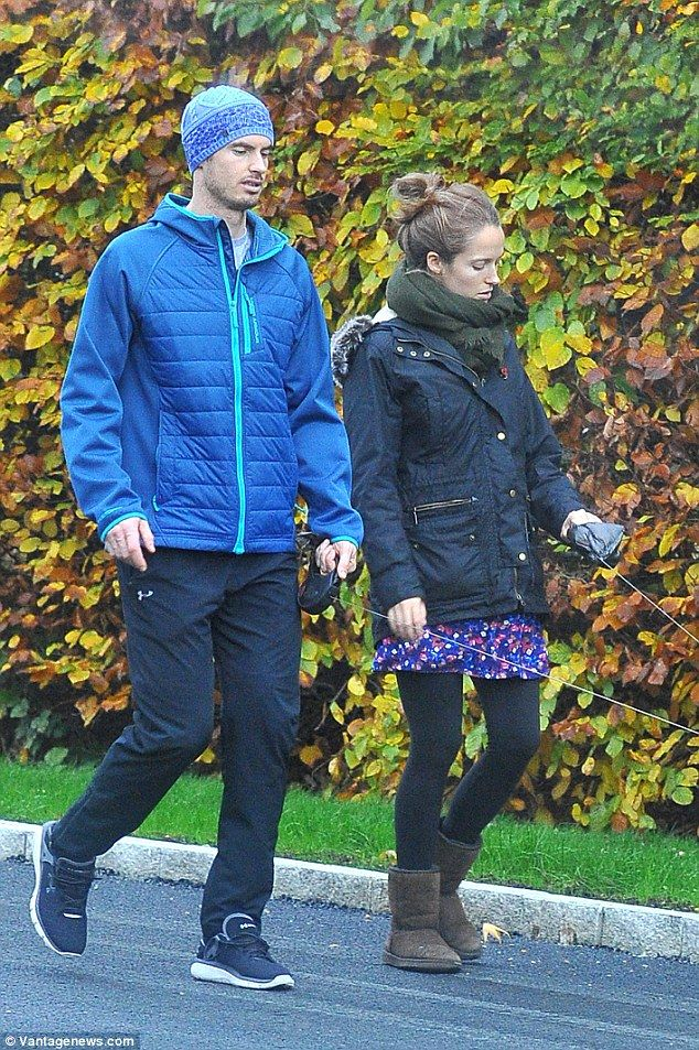 The tennis star wrapped up in a puffa jacket and knitted hat while Kim covered her baby bu...