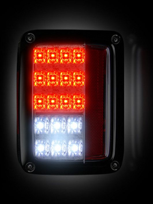 RECON Part # 264234CL- CLEAR LED Tail Lights Jeep Wrangler 2007-2015