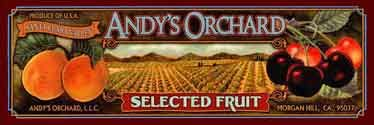 Andy's Orchard fresh & dried fruit store - Online Catalog Specializing in unique stone fruits, does tours in summer, silicone valley