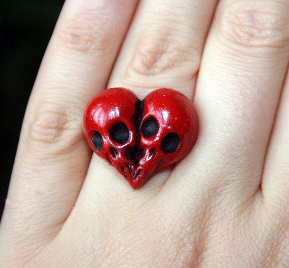 Sparkly red skull heart, polymer clay ring , Till Death Do Us part