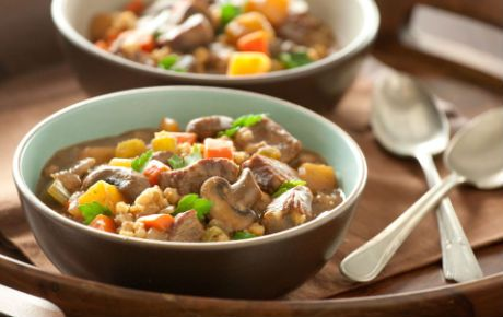 Root Vegetable Stew with Beef and Barley  Love this stew.  I add lots of veggies to this, even more then called for and cook it in a crockpot all day.  I add everything to the crockpot even the barley, but just thicken it at the end it needed.  Cook on low for 8 hrs.