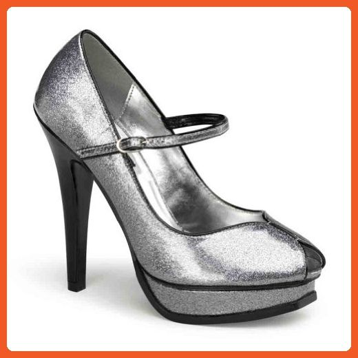 Pin Up Couture Women's Pleasure Silver Pearlized Glitter Patent Leather