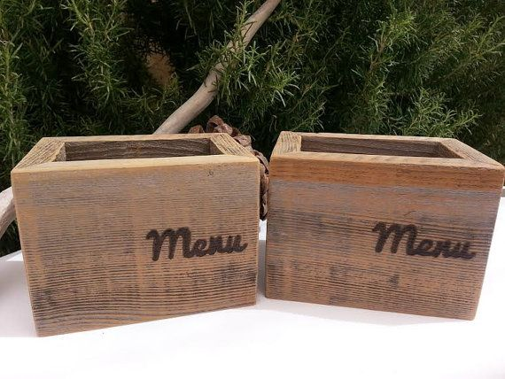 Rustic Wood Menu Holder Box Shabby Cottage Chic Reclaimed Eco Friendly Upcycled Wood. Great for Restaurant or Bar! (1 ) Box on Etsy, £12.17