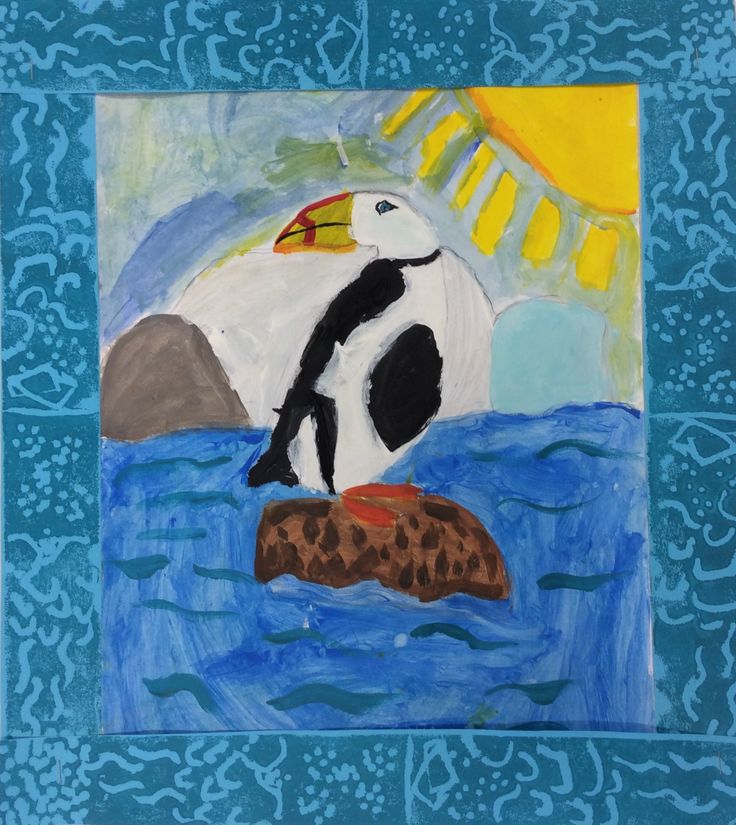 Emily has painted a wonderful puffin and finished the work with a printed frame.  It all works together very well.