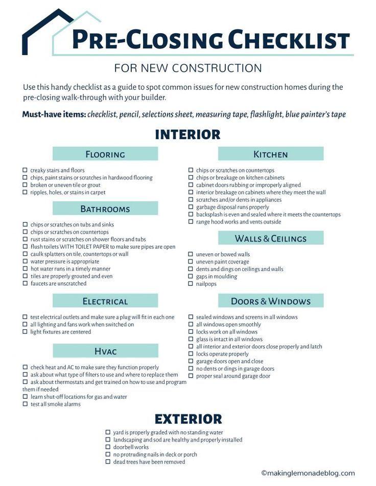 Building A House Grab This Free Printable Pre Closing Checklist
