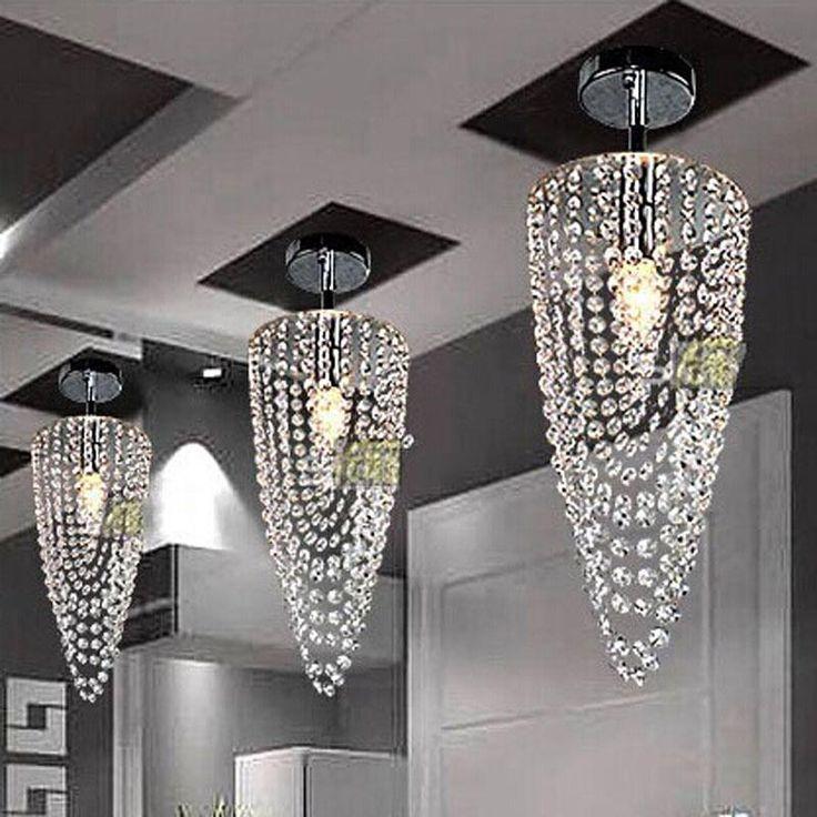 2016 Led 1 Light Chrome K9 Modern Crystal Chandelier Lighting D17*h45cm  110v 256v Transparent