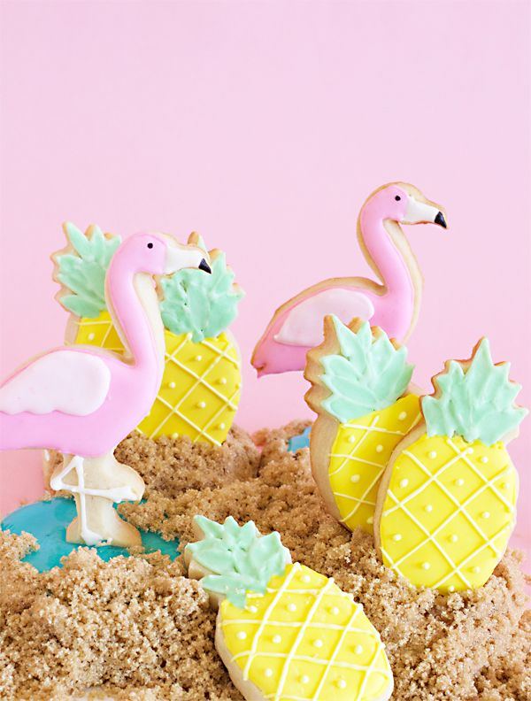 Flamingo and Pineapple Sugar Cookies