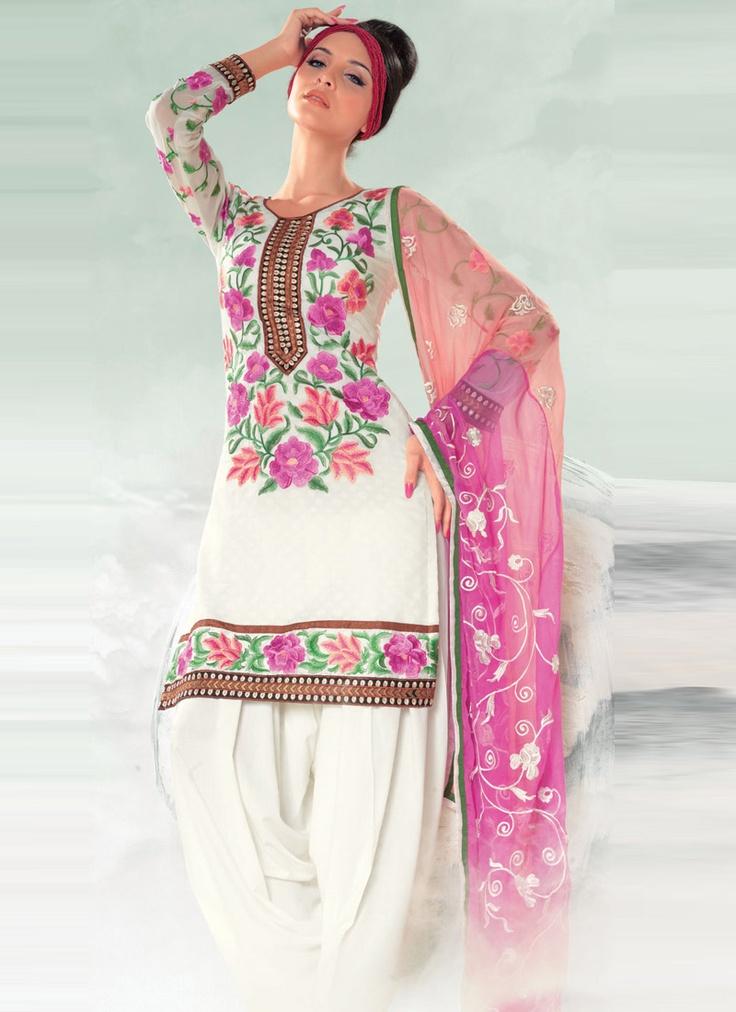Pristine White Foliage Embroidered Salwar Suit