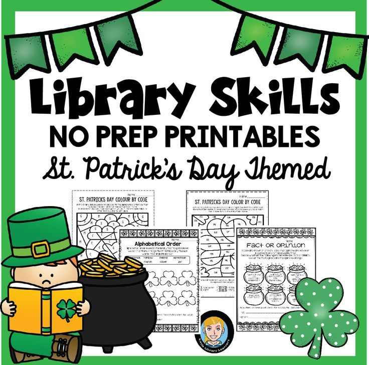This Library Skills No Prep Printables pack has a fun Saint Patrick's Day theme. It includes printable activities and bookmarks you can use in your library and classroom.