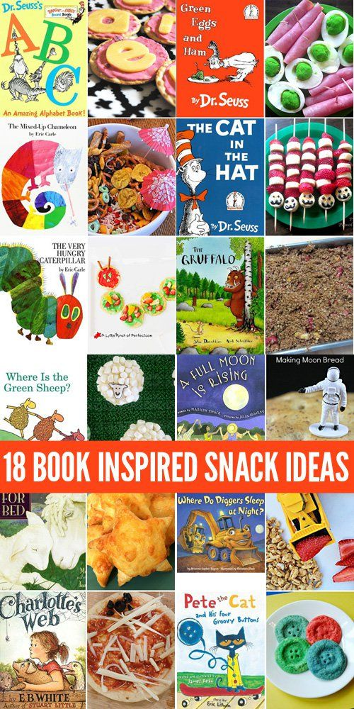 18 Book Inspired Snack Ideas for Kids. Perfect for Book Week, International Book Day or any day! http://childhood101.com/2015/08/18-book-inspired-snacks-for-kids/